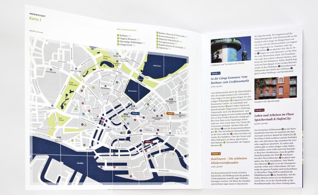 Cities to go ·Aufklappbare Karte mit Routen