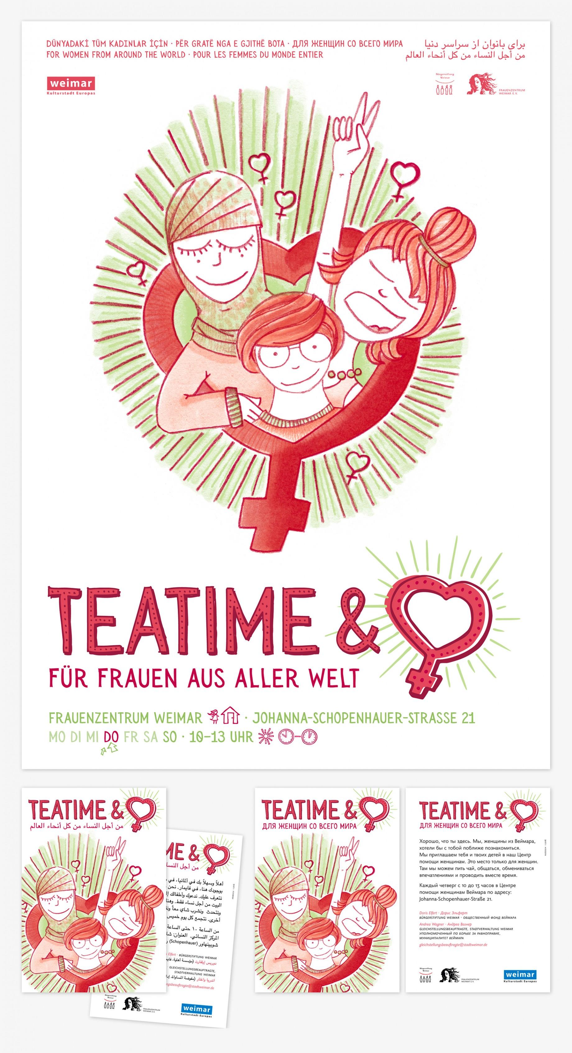 Teatime & Heart · Plakat und Postkarten in verschiedenen Sprachen