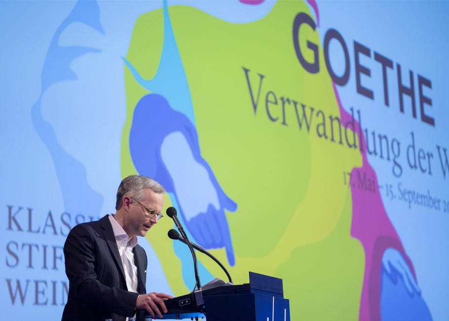 Kurator Thorsten Valk zur Eröffnung der Goethe-Ausstellung, Fotografie: © S. Vogel | Bundeskunsthalle Bonn